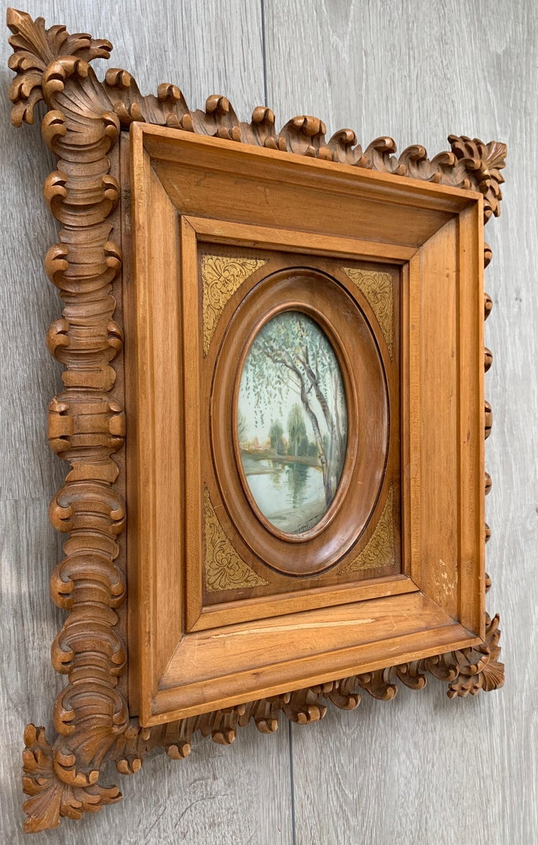 Gilt Rare Antique and Stylishly Handcrafted Beechwood Picture Frame with Painting For Sale