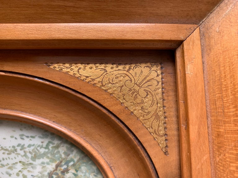 Glass Rare Antique and Stylishly Handcrafted Beechwood Picture Frame with Painting For Sale