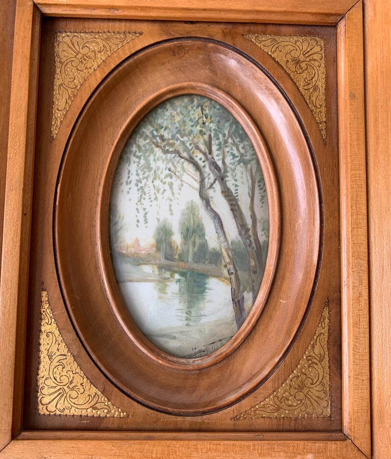 Rare Antique and Stylishly Handcrafted Beechwood Picture Frame with Painting For Sale 1