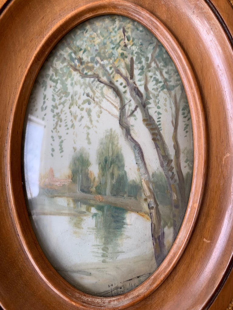 Rare Antique and Stylishly Handcrafted Beechwood Picture Frame with Painting For Sale 2