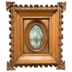 Rare Antique and Stylishly Handcrafted Beechwood Picture Frame with Painting