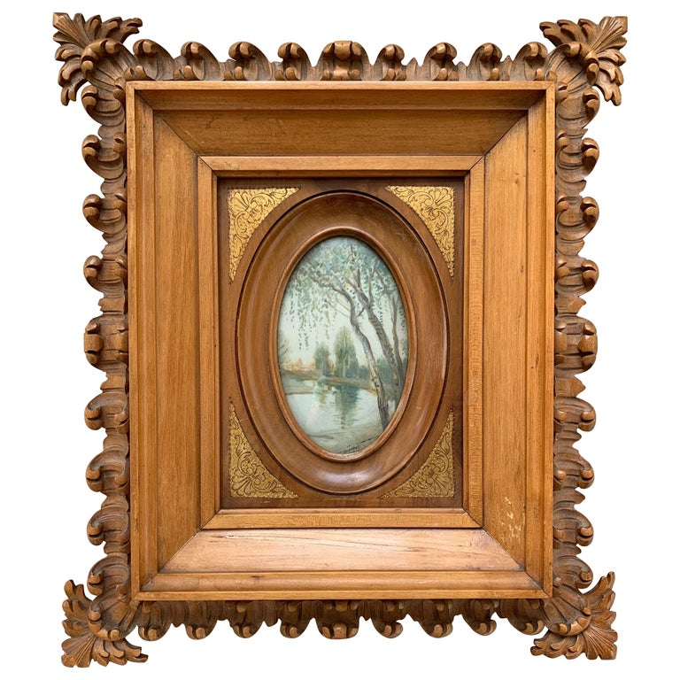 Rare Antique and Stylishly Handcrafted Beechwood Picture Frame with Painting For Sale