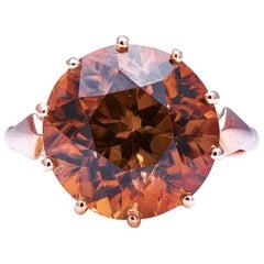 Rare Antique, Art Deco, Natural 15 Carat Zircon Ring