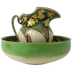 Rare Antique Art Nouveau 2-Piece Wash Set Bowl and Pitcher by Royal Doulton