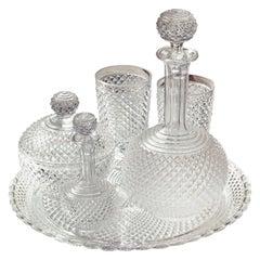 Rare Antique Baccarat Diamond Cut Crystal Water Set