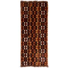 Rare Antique Black Brown Diamond Geometric Wool Iraq Runner Rug