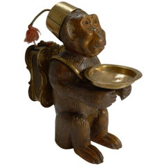 Rare Antique Black Forest Match Strike, Monkey with Glass Eyes, circa 1900
