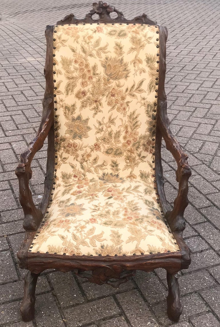 Rare Antique Black Forest Nutwood Armchair / Fauteuil by Horrix with Upholstery For Sale 3