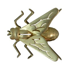 Rare Antique Boucheron 15 Carat Gold Fly Insect Brooch