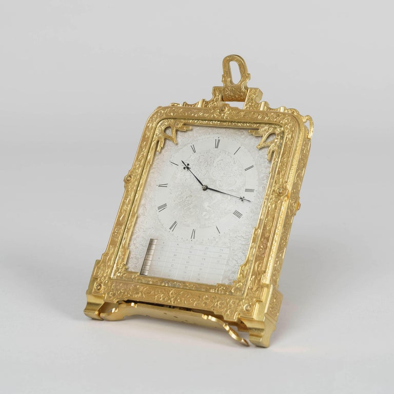 A very early strut clock Retailed by Hunt & Roskell By Thomas Cole  A rare pre-numbered strut clock of beautiful design and execution, having the standard revolving strut attachment to the base for support, a spring-loaded catch-operated bracket