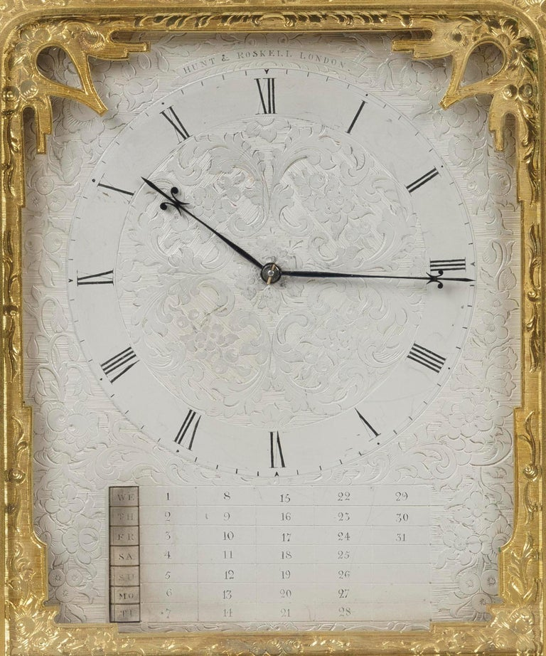 Gilt Rare Antique Brass Engraved Strut Clock by Thomas Cole For Sale