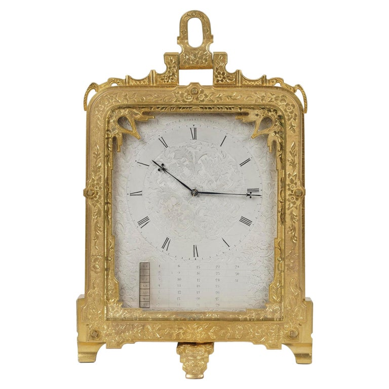 Rare Antique Brass Engraved Strut Clock by Thomas Cole For Sale