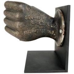 Rare Antique Cast Iron Life Size Closed Hand Advertising Piece, circa 1920