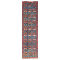 Rare Antique Caucasian Avar Tribal Flat-Weave Gallery Size in Blue and Red