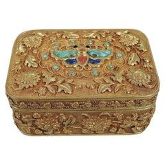 Rare Antique Chinese 22 Karat Gold Box with Semi-Precious Stones