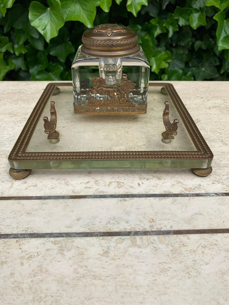 Rare Antique Classical Roman Bronze & Glass Inkstand with Crystal Glass Inkwell For Sale 10