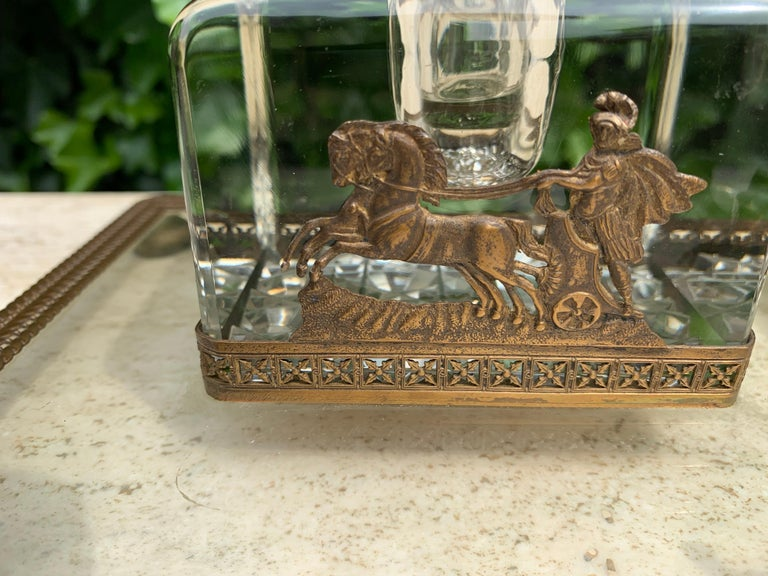 Hand-Crafted Rare Antique Classical Roman Bronze & Glass Inkstand with Crystal Glass Inkwell For Sale
