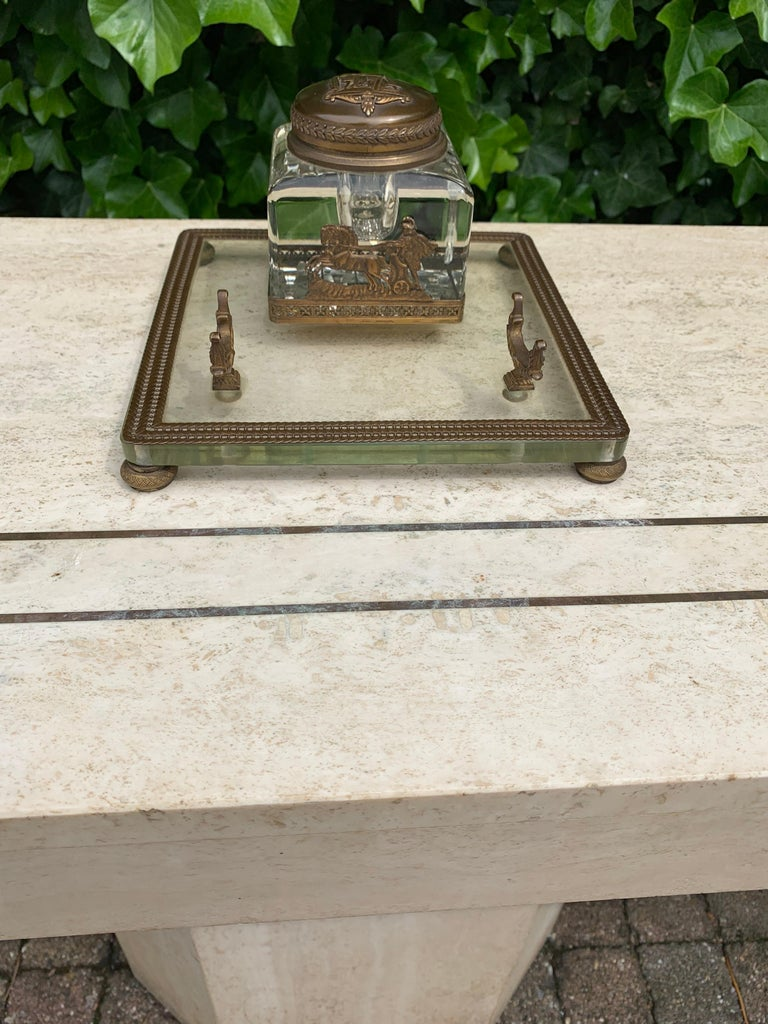 Rare Antique Classical Roman Bronze & Glass Inkstand with Crystal Glass Inkwell In Excellent Condition For Sale In Lisse, NL