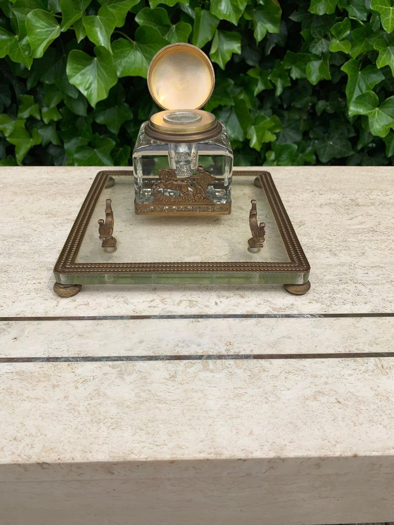 19th Century Rare Antique Classical Roman Bronze & Glass Inkstand with Crystal Glass Inkwell For Sale