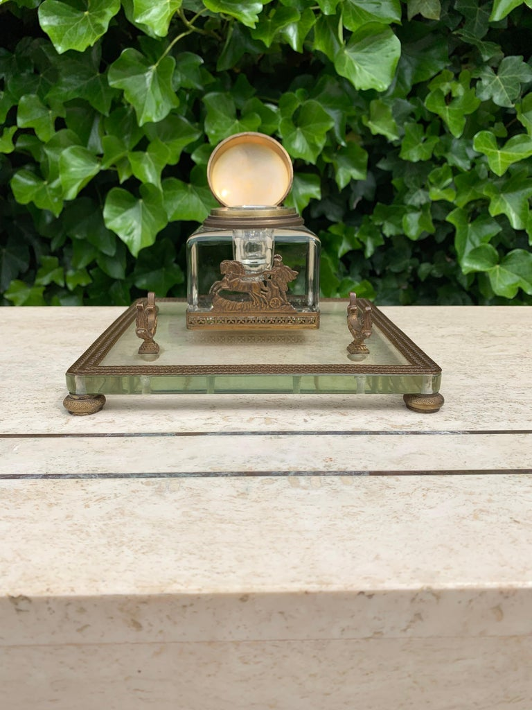 Rare Antique Classical Roman Bronze & Glass Inkstand with Crystal Glass Inkwell For Sale 1