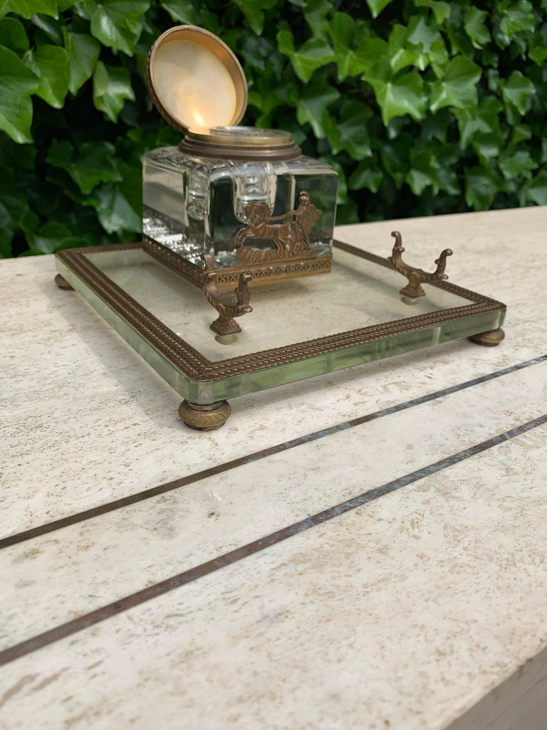 Rare Antique Classical Roman Bronze & Glass Inkstand with Crystal Glass Inkwell For Sale 2