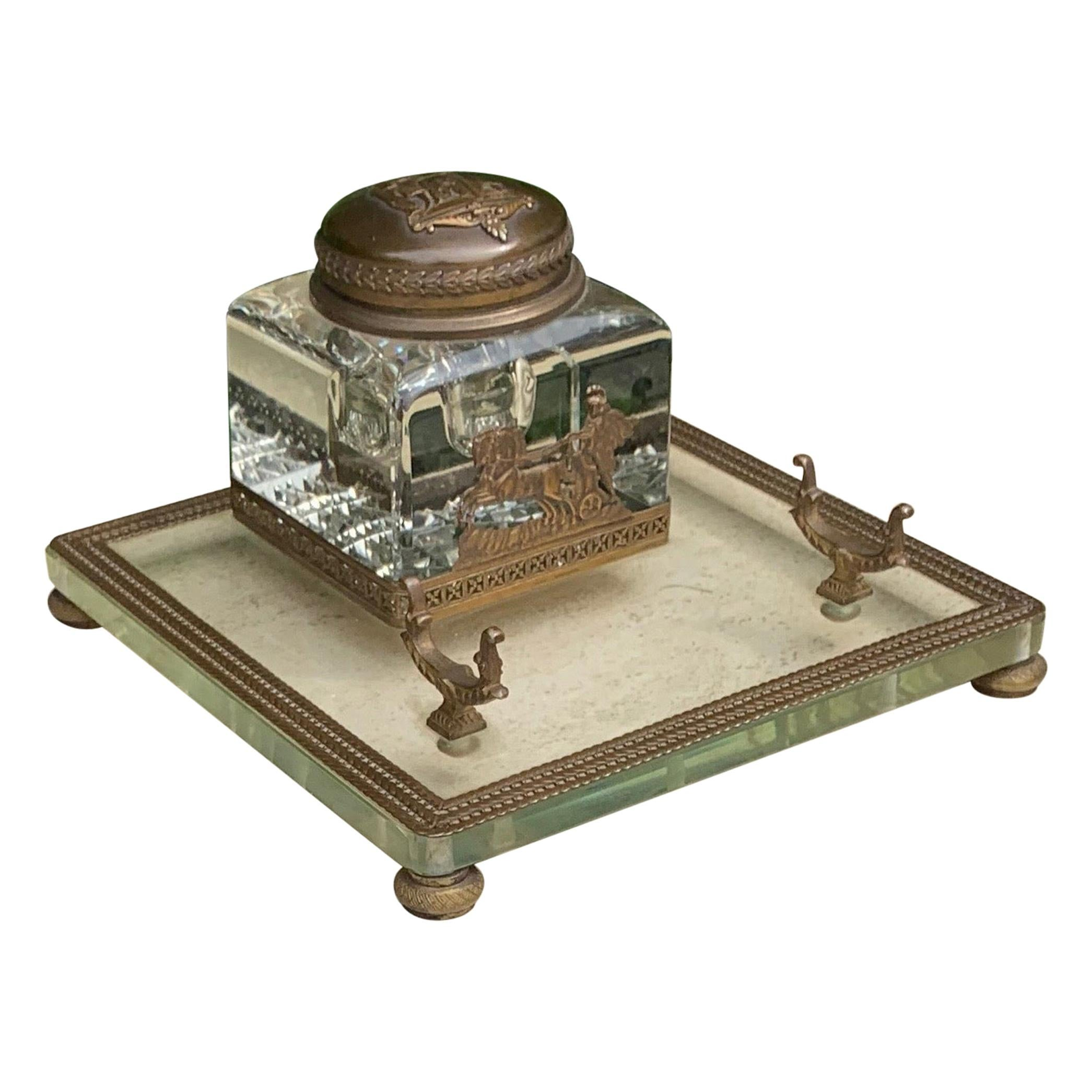Rare Antique Classical Roman Bronze & Glass Inkstand with Crystal Glass Inkwell
