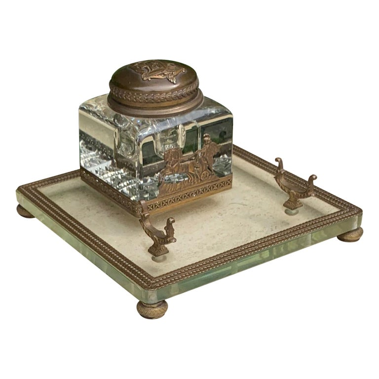 Rare Antique Classical Roman Bronze & Glass Inkstand with Crystal Glass Inkwell For Sale