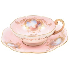 Rare Antique Coalport England Demi Cup & Saucer, Pink Hand Painted Raised Gold