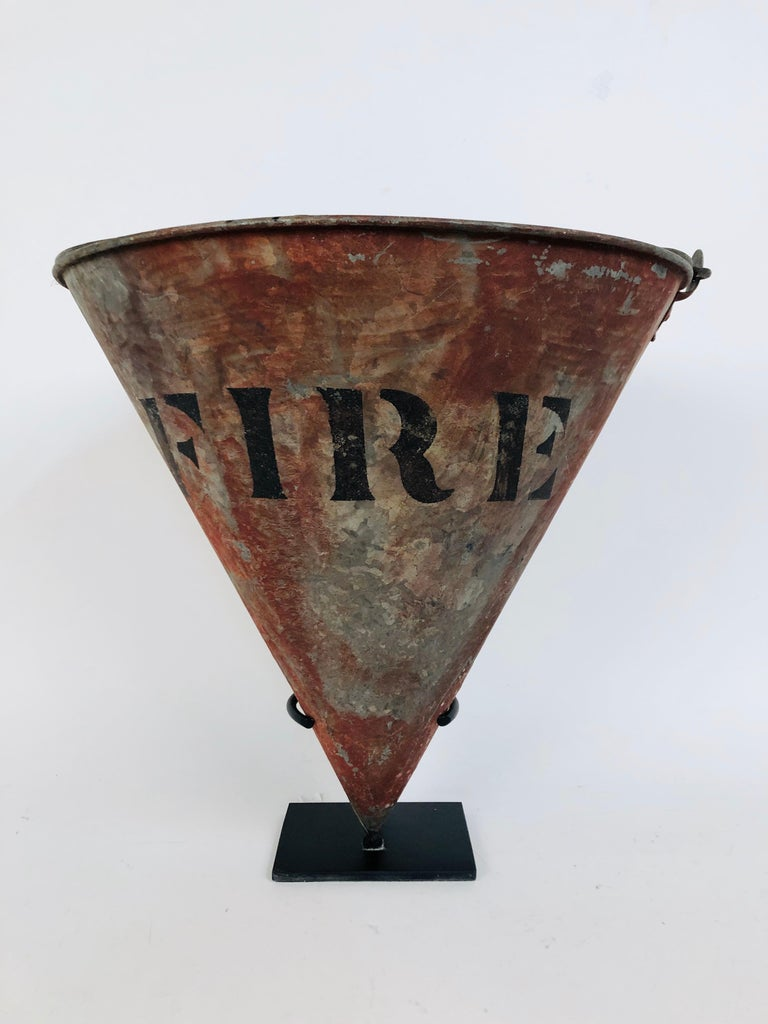 Metal Rare Antique Cone Shaped American Fire Bucket with Custom Stand For Sale