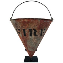 Rare Antique Cone Shaped American Fire Bucket with Custom Stand