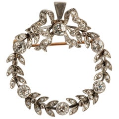 Rare Antique Convertible Wreath Brooch or Necklace, with 2.7 Carat Diamonds