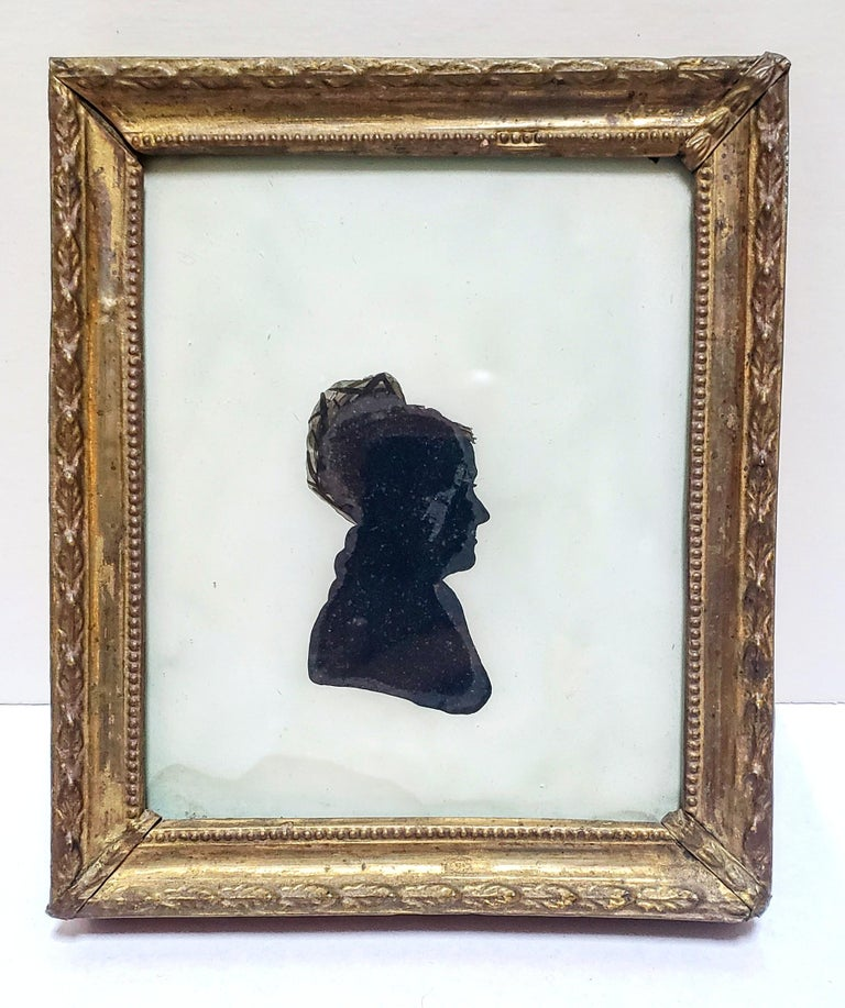 Painted Rare Antique Eglomise Silhouette, American, circa 1810 For Sale