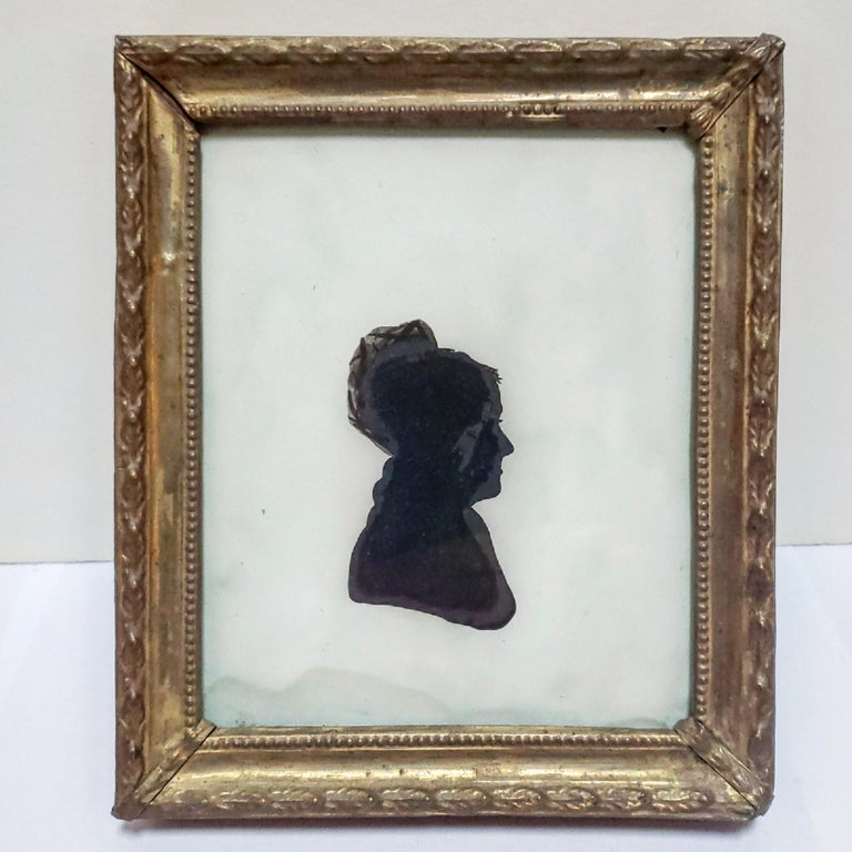 Rare Antique Eglomise Silhouette, American, circa 1810 In Good Condition For Sale In New York, NY
