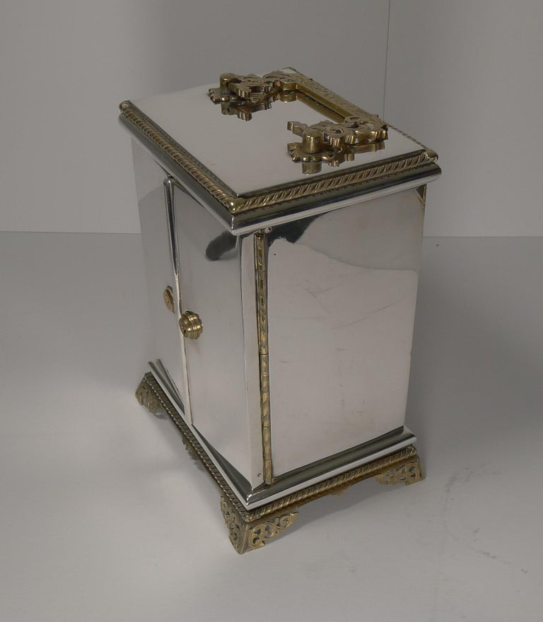 Rare Antique English Coin Safe / Jewelry Cabinet, circa 1860 For Sale 3