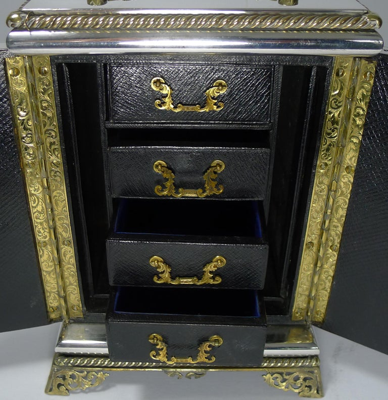 Mid-19th Century Rare Antique English Coin Safe / Jewelry Cabinet, circa 1860 For Sale