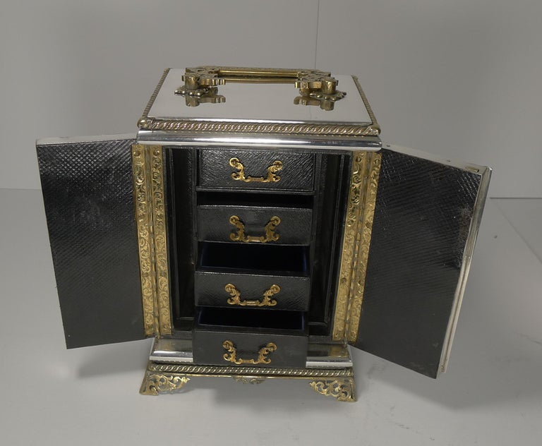 Silver Plate Rare Antique English Coin Safe / Jewelry Cabinet, circa 1860 For Sale