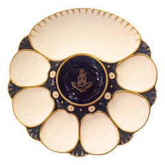 Rare Antique English Minton Oyster Plate with Latin Crest and Large Cracker Well
