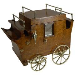 Rare Antique English Oak Novelty Carriage Cigar Box / Humidor, Reg. 1904