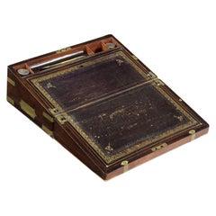 Rare Antique English Regency Rosewood & Brass Writing Slope Box Lap Desk