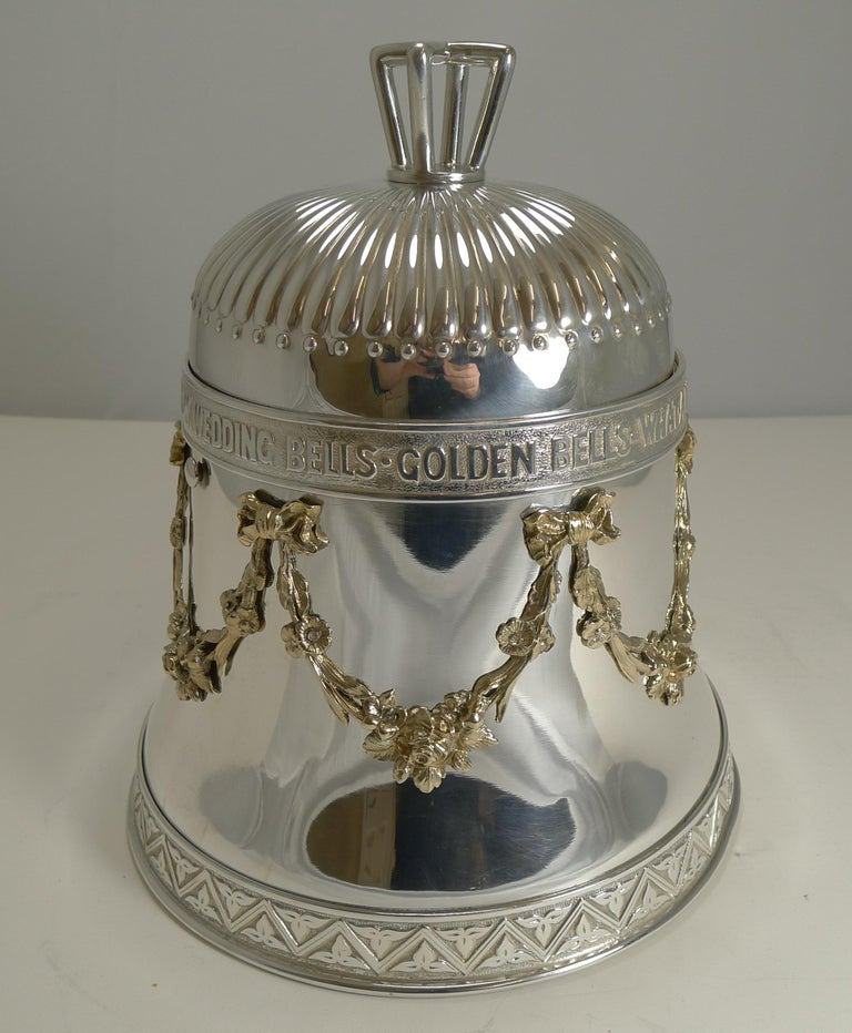 A truly magnificent Victorian English biscuit / cookie box in the form of a very grand large bell. The quality is breathtaking and an example I have never seen before; possibly a bespoke wedding gift made for a very wealthy family.  The top of