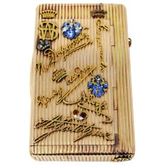 Rare Antique European Diamond and Ruby 14 Karat Yellow Gold Cigarette Case Box