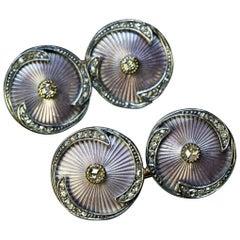 Rare Antique Faberge Lilac Guilloche Enamel Diamond Double Cufflinks