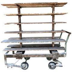 Rare Antique Factory Cart with 12 Shelves Made for Buffalo China
