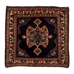 Rare Antique Farahan Sarouk Mini Rug, Navy Field, Green Center Medallion