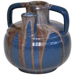 Rare Antique French Art Pottery by Leon Pointu Blue Vase Pot