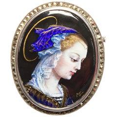 Rare Antique French Limoges Silver, Enamel and Marcasite Brooch