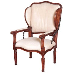 Rare Antique French Reclining Wingback Armchair