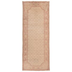 Rare Antique French Savonnerie Gallery Rug, Beige Field, circa 1930s