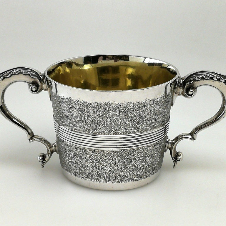 English Rare Antique George III Georgian Sterling Silver Cup Two Handled 1802 For Sale