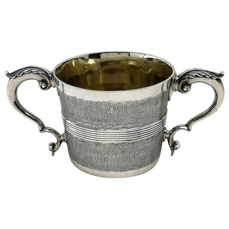 Rare Antique George III Georgian Sterling Silver Cup Two Handled 1802 For Sale
